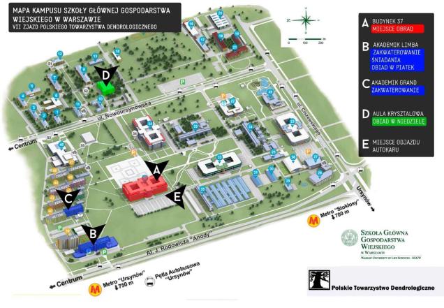Mapa kampusu SGGW