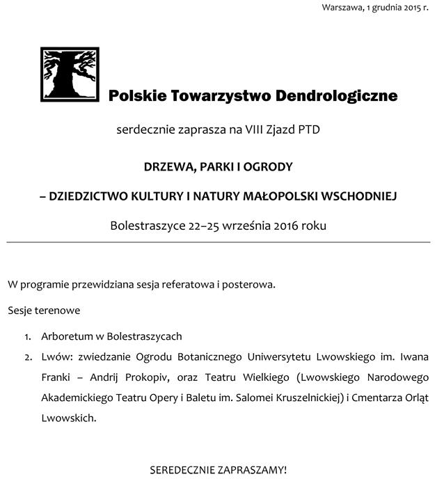 Komunikat I o zjeździe PTD w Bolestraszycach