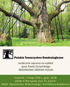 """Plakat - wykład """"Rekordowe drzewa Polski"""""""