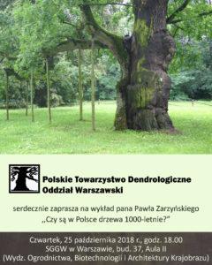 """Plakat: wykład """"Czy są w Polsce drzewa 1000-letnie?"""""""