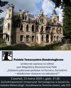 Plakat - referat pt. Założenia pałacowo-parkowe