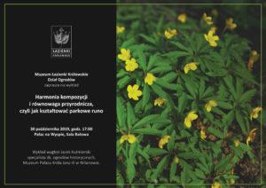 """Wykład  """"Harmonia kompozycji i równowaga przyrodnicza, czyli jak kształtować parkowe runo"""""""