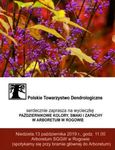 """Spotkanie """"Październikowe kolory, smaki i zapachy w Arboretum w Rogowie"""""""