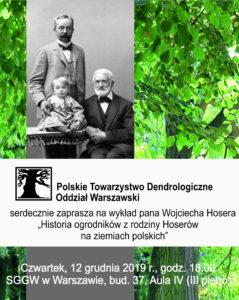 Plakat - wykład o historii ogrodników z rodziny Hoserów