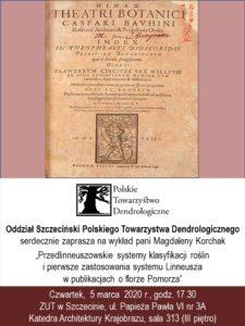 Plakat - spotkanie oddziału Szczecińskiego PTD, marzec 2020